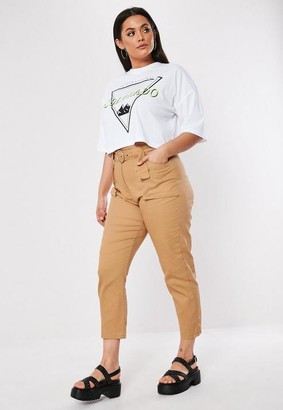Missguided Plus Size Sand Belt Detail Cargo Pants