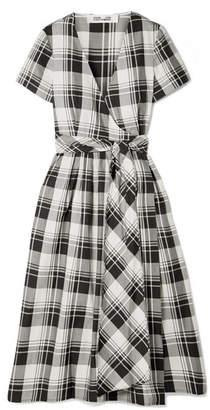 Diane von Furstenberg Checked Cotton-poplin Wrap Midi Dress