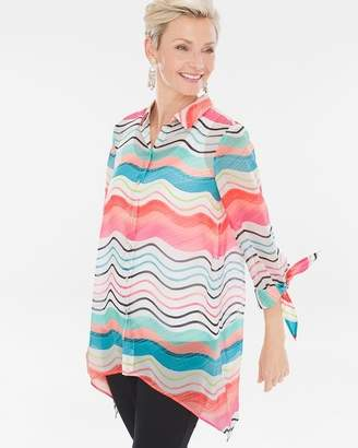 Chico's Chicos Watercolor Striped Tie-Sleeve Shirt