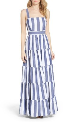 Women's Eliza J Stripe Tiered Maxi Sundress $178 thestylecure.com