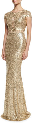 Badgley Mischka Cap-Sleeve Sequined Column Gown, Champagne $650 thestylecure.com