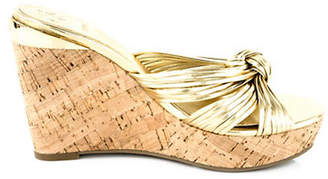 GUESS Babsi Metallic Knotted Cork Wedge Sandals
