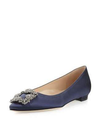 Manolo Blahnik Hangisi Crystal-Buckle Satin Flat, Navy $955 thestylecure.com