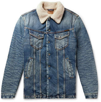 Nudie Jeans Lenny Faux Shearling-Lined Washed Denim Jacket