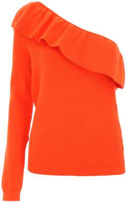 Ganni Ruffled One-shoulder Knit Top