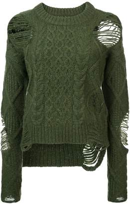 NSF distressed knitted sweater