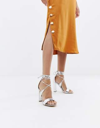 Glamorous Silver Ankle Tie Block Heeled Sandals