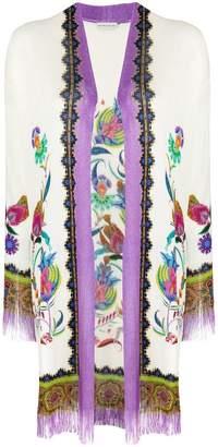 Etro mixed pattern fringed cardi-coat