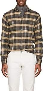 Inis Meain Men's Plaid Washed Silk-Linen Shirt-Tan Pat.
