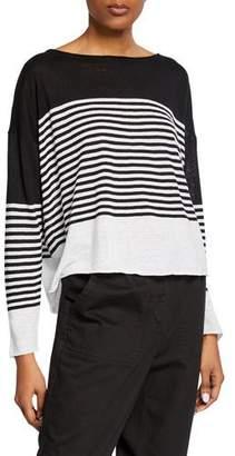 Eileen Fisher Colorblock Striped Long-Sleeve Organic Linen/Cotton Sweater