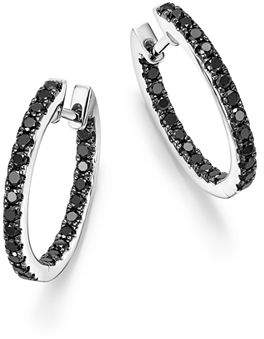 Bloomingdale's Black Diamond Inside Out Hoop Earrings in 14K White Gold, .85 ct. t.w. - 100% Exclusive