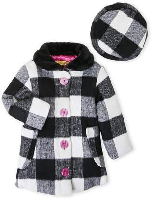 Penelope Mack (Toddler Girls) Two-Piece Check Coat & Hat Set
