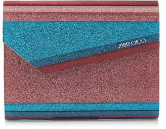 Jimmy Choo CANDY Raspberry Mix Striped Glitter Acrylic Clutch Bag