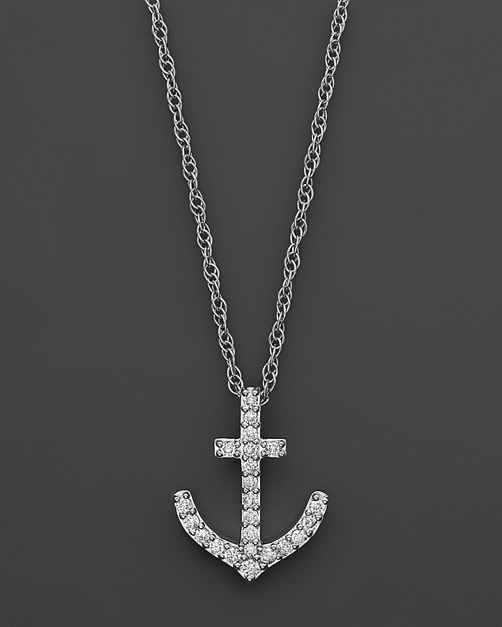 Bloomingdale's Diamond Anchor Pendant Necklace in 14K White Gold, .25 ct. t.w.