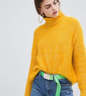 Bershka eyelash texture roll neck jumper