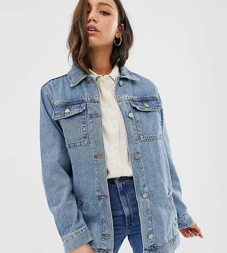 Asos Tall DESIGN Tall denim girlfriend jacket in stonewash blue