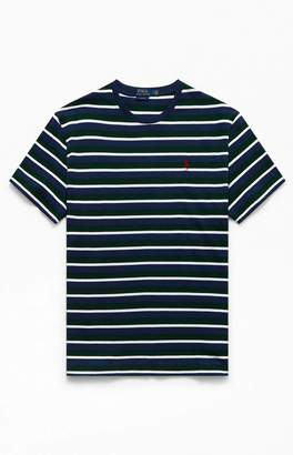Polo Ralph Lauren White & Green Animated CN Striped T-Shirt