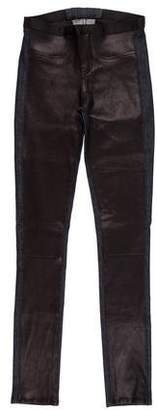 Helmut Lang Mid-Rise Leather-Paneled Jeans