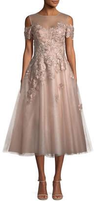 Rickie Freeman For Teri Jon Organza 3D Embellished Illusion Gown