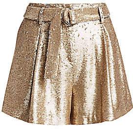 Jonathan Simkhai Women's Distressed Sequin Pleated Shorts