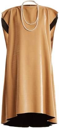 MM6 MAISON MARGIELA Faux pearl-embellished tie-waist velvet dress