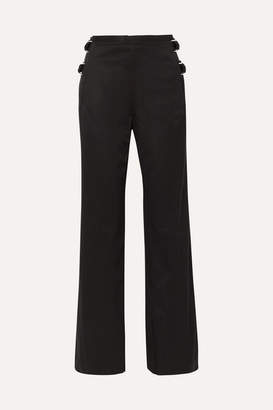 Helmut Lang Buckled Cotton-twill Wide-leg Pants - Black