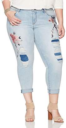 Denim Crush Women's Floral Blossom Embroidered Patch and Repair Girlfriend Jean Plus Size