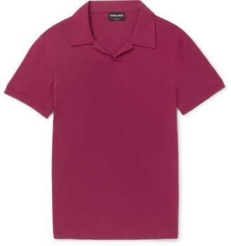 Giorgio Armani Slim-fit Camp Collar Stretch-jersey Polo Shirt - Plum