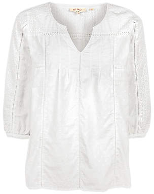 Fat Face Phoebe Broderie Popover Blouse, White