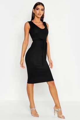 boohoo Tie Front Sleeveless Midi Dress