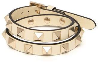 Valentino Rockstud Wraparound Leather Bracelet - Womens - Ivory