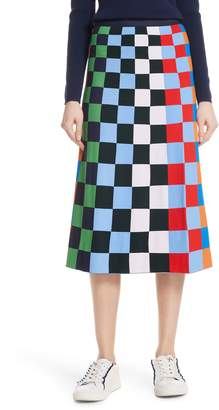 Tory Sport Check Tech Knit Skirt