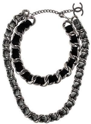 Chanel Velvet Double Chain Necklace