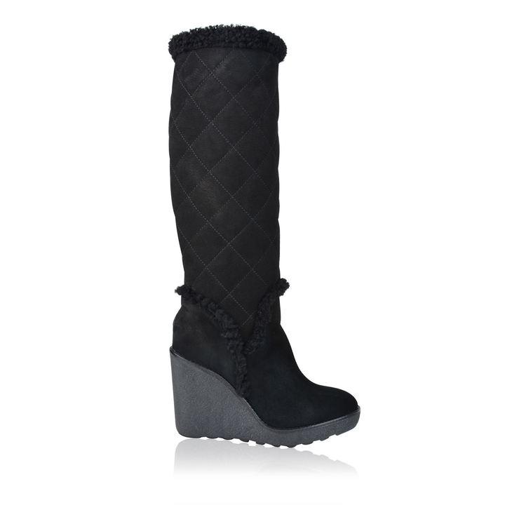 moncler fur trim wedge boots shopstyle co uk