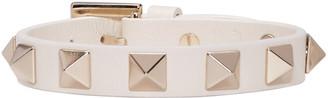 Valentino Ivory Leather Rockstud Bracelet $195 thestylecure.com