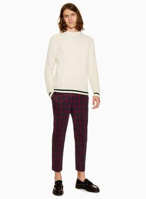 Topman Navy and Red Check Relaxed Cropped Trousers