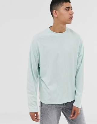 Asos Design DESIGN oversized long sleeve t-shirt in pale blue