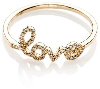 Ef Collection 14K Yellow Gold Diamond Love Script Ring - Size 8 - 0.10 ctw