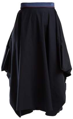 Roksanda Marrano Cotton Midi Skirt - Womens - Navy
