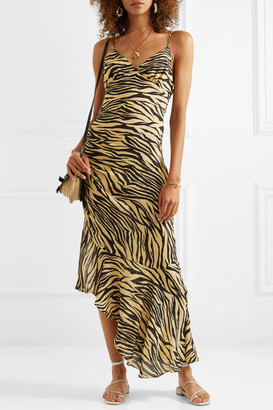 Nicholas Asymmetric Ruched Zebra-print Silk Crepe De Chine Midi Dress - Neutral