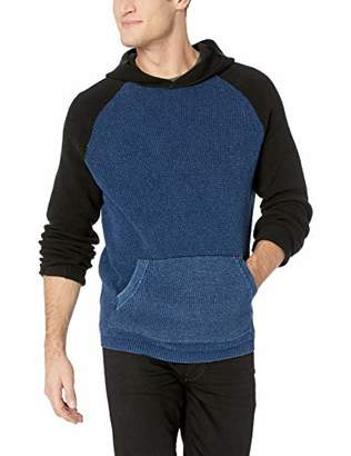 Lucky Brand Men's Colorblock Indigo Thermal Hoodie Sweatshirt