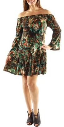 24/7 Comfort Apparel Women's Peacock Party Dress with Drop Waist Style