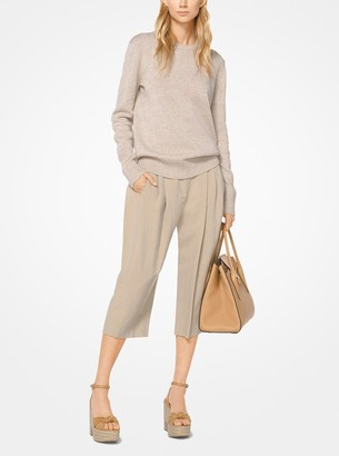Michael Kors Washed Linen and Silk Pleated Cropped Trousers