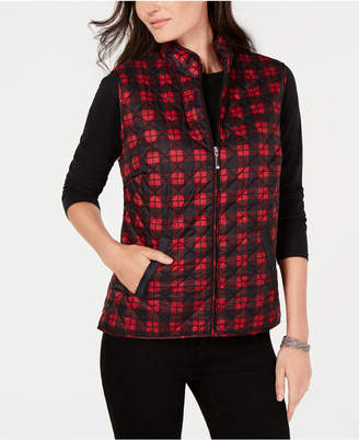 Karen Scott Plaid Puffer Vest