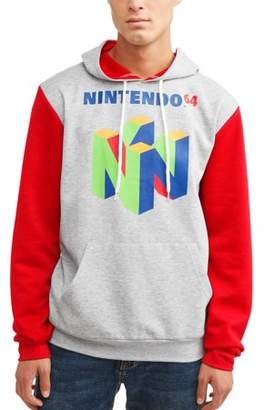 Nintendo Gaming Men's Licensce Color Block Long Sleeve Graphic Hoodie