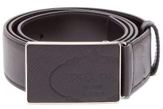 Prada Rectangular Buckle Saffiano Leather Belt - Mens - Black