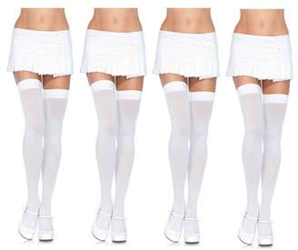 Leg Avenue Women's Over The Knee Thigh Highs Hosiery, Plus-size, 4-Pair, White