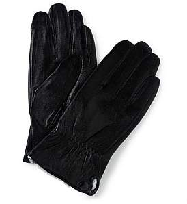 Linea Alta Leather Glove W Button Detail