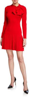 Shoshanna Pierce Tie-Neck Long-Sleeve Pleated Mini Dress