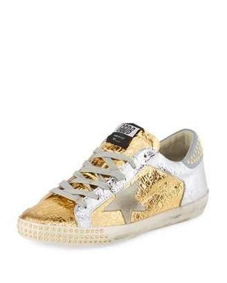 Golden Goose Superstar Studded Metallic Leather Low-Top Sneakers